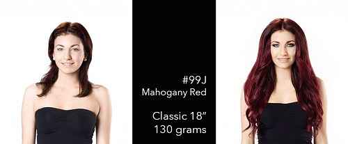 Mahogany Red #99J Hair Extensions Before and After Picture with Model Bryony Morganna Haigh