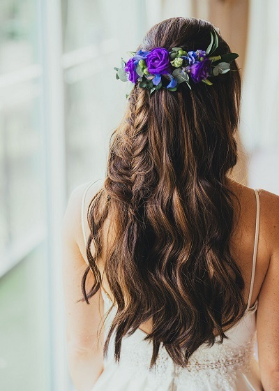 After picture with hair extensions, wedding hair look