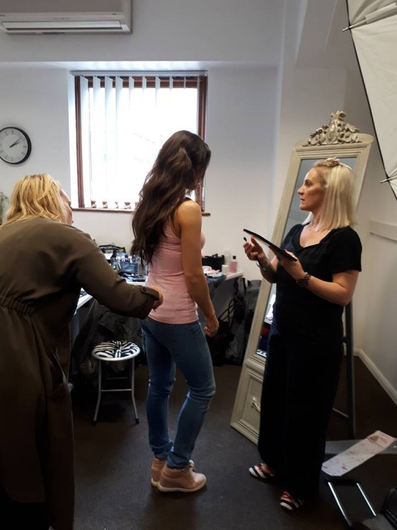 Hair Stylists, Holly Edwards and Sian Duke styling the hair extensions