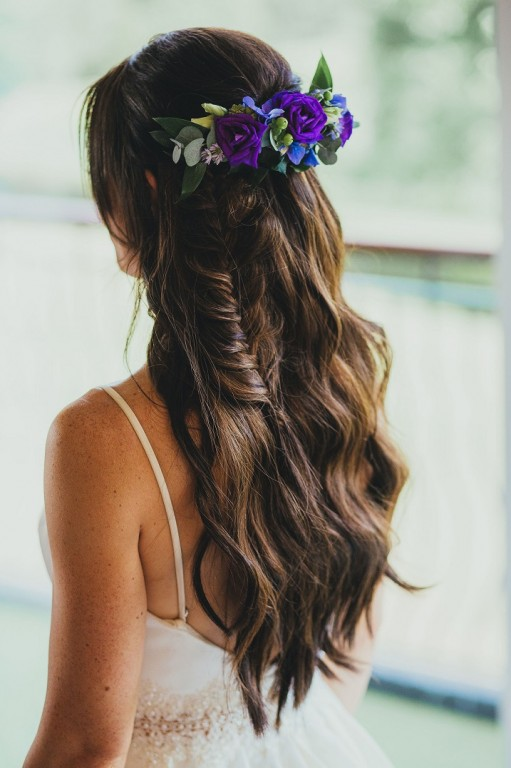 Pretty wedding hair style with a boho look, fishtail braid
