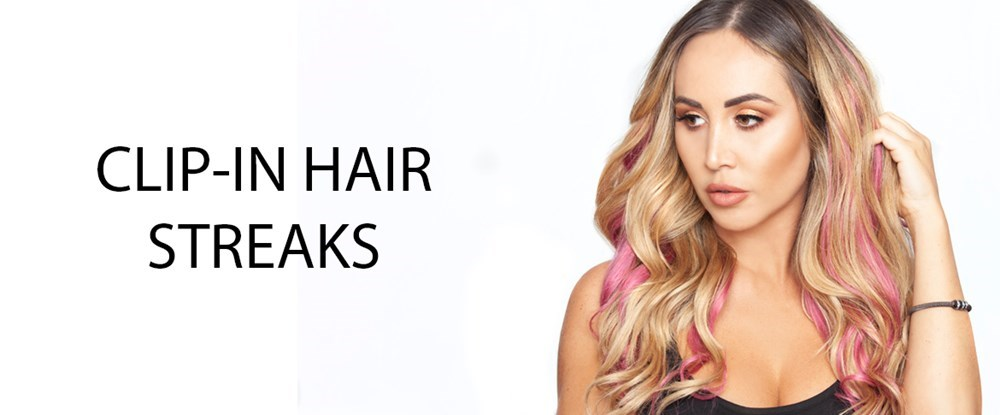 rose pink clipin hair streaks clip in hair extensions