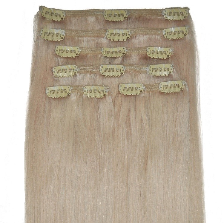 White Blonde Human Triple Weft Hair Extensions