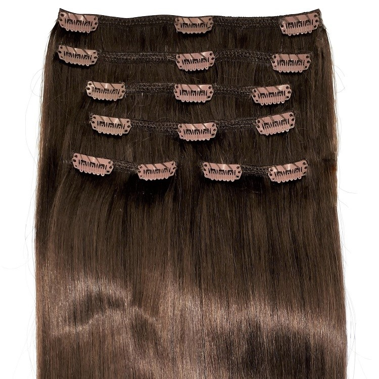 Natural brown clip in hair extensions