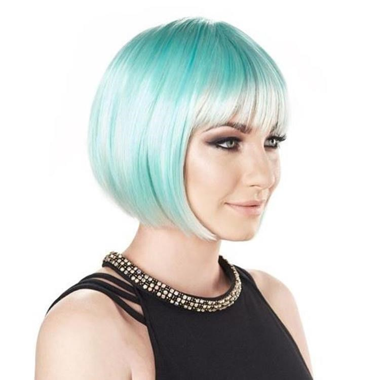turquoise short wig