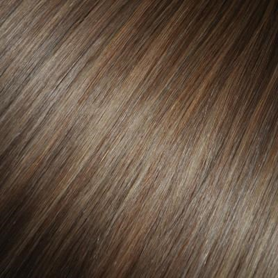 #8/18 Light Brunette with Golden Blonde Highlights - Clip in Hair Extensions - Full Head
