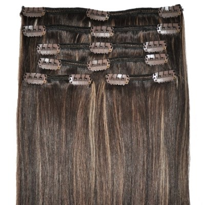 #4/18 Dark Brunette with Golden Blonde Highlights - Clip in Hair Extensions - Full Head