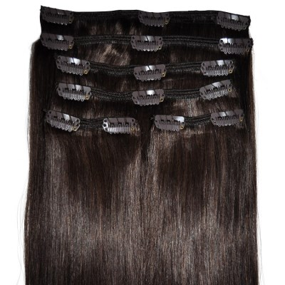 #4 Dark Brunette - Clip in Hair Extensions - Full Head