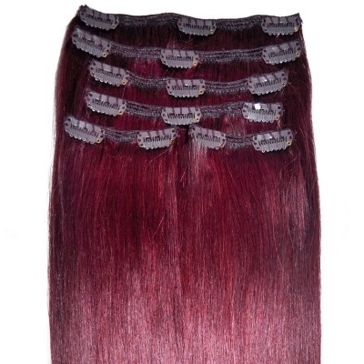 Mahogany dark cherry red 99j hair extensions 99j mahogany red clip in hair extensions full head pmusecretfo Images