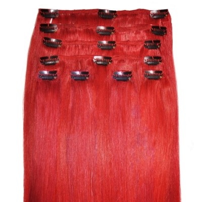 Red - Clip in Hair Extensions - 18 inch