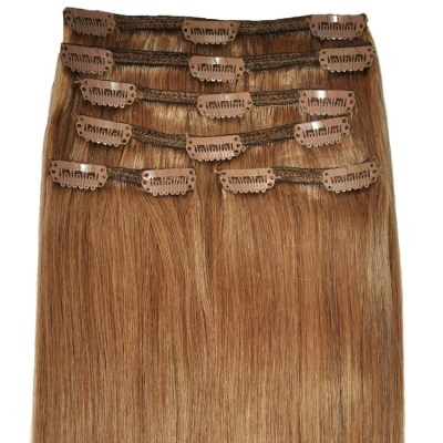 #12 Light Chestnut Brown - Clip in Hair Extensions - Full Head