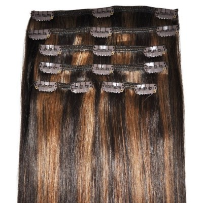 #2/6 Caramel Mocha Blend - Clip in Hair Extensions - Full Head