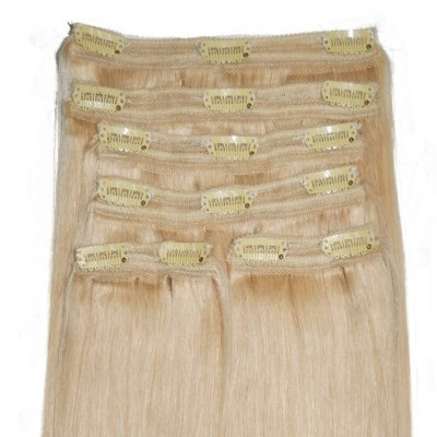 #22 Natural Light Blonde - Clip in Hair Extensions - Full Head - DELUXE