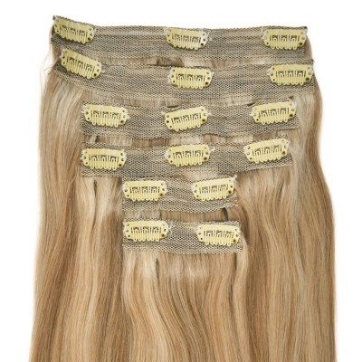 #18/22 Golden Blonde with Light Blonde Highlights - Clip in Hair Extensions - Full Head - DELUXE