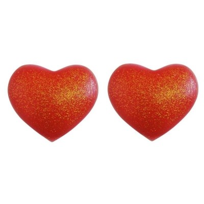 Silicone Heart Nipple Covers Red with Gold Glitter