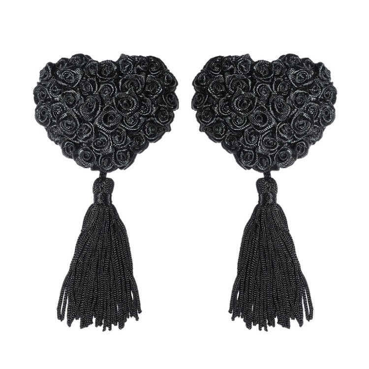 Black Rose Nipple Tassels